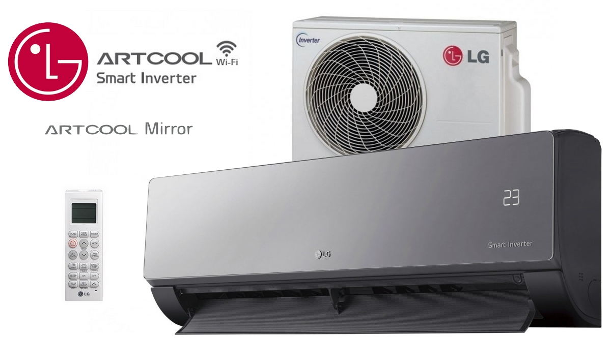 lg artcool mirror am18bp 5 0kw klimaanlage inverter w rmepumpe montageset ebay. Black Bedroom Furniture Sets. Home Design Ideas