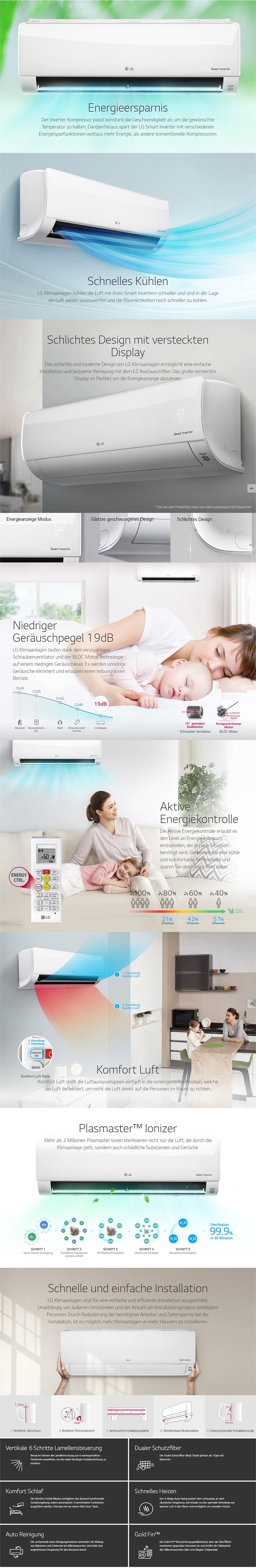 LG Standard (S09EQ) (P09EN) 2,5 kW Klimaanlage Inverter Klimagerät ...