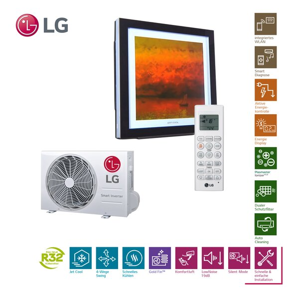 LG Artcool Gallery A09FT R32 Wandklimageräte-Set - 2,5kW